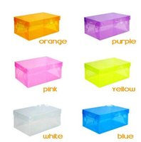 Wholesale Transparent Shoe Storage Boxes Wholesale - Transparent Women lady Stackable Crystal Clear Plastic Shoe Storage Boxes case organizer 7 colors in stock CN post