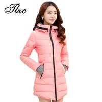 Wholesale Cheap Hooded Parka Coats - Wholesale- TLZC Brand New Winter Jacket Women Cotton Parkas Big Size XL-6XL Lady Hooded Coats Jaqueta Feminina Retail Cheap Outerwear