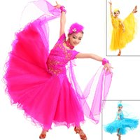 Wholesale Ballroom Dance Costumes For Kids - 2015 Children Standard Ballroom Dance Competition Dresses Waltz Tango Dresses Kids For Sale Girls Jazz Dance Costumes DQ5033