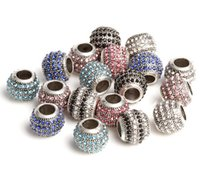 Wholesale Crystal Pave Beads For Pandora - Vintage Silver Plated Alloy Sparkling Crystal Paved Charm Bead For Pandora Bracelet European Bead Assorted Color Classic