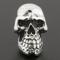 Wholesale Huge Heavy Sterling Silver Skull Mens Biker Rocker Stud Earring R020A