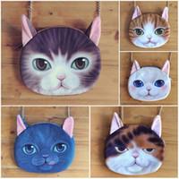 Wholesale Cat Phone Chain - Lady Cartoon 3D cat messenger bags women 5styles kawaii cat single-shoulder bag Creative shoulder cute wallet 20*16cm hot