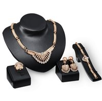 Wholesale Cheap Bridal Costume Jewelry - 2016 Cheap Luxury Fashion necklace earring ring bracelet set 18k Gold Rhinestone Women Wedding Bridal Costume Jewelry Sets