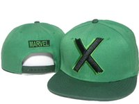 Wholesale marvel hats - green adult men marvel heroes X cartoon character Snapback Caps Adjustable Hip Hop Casual Baseball Cap Hats for Men Women DDMY