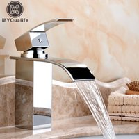 Wholesale Wholesale Cold Rolled Steel - Free Shipping Wholesale And Retail Deck Mount Waterfall Bathroom Faucet Vanity Vessel Sinks Mixer Tap Cold And Hot Water Tap