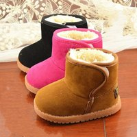 Wholesale Thick Sole Black Boot - Factory Direct 2015 Baby Winter Shoes Classic Cute Girls Winter Boots Boys Snow Boots Plus Thick Cow Muscle Sole Solid Size21-25 JIA725
