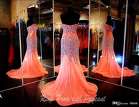 Wholesale Short Sparkle Rhinestone Dress - 2015 Real Pictures Sparkling Mermaid Prom Dresses Evening Gowns With Crystals Sweetheart Chiffon Beaded Glitz Pageant Dress with Rhinestones