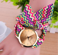Wholesale Glass Bow Tie - Mixed Designs GENEVA Ribbon Strap Gold Dial Ladies Fashion Bracelet Watch Long Bow Tie Cloth Butterfly Knot Girl Women Wristwatch Party Gift