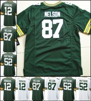2017 Bianco Verde New Youth Kids maglia 12 Aaron Rodgers 52 Clay Matthews 18 Randall Cobb 87 Jordy Nelson maglie