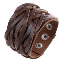 ingrosso braccialetti fatti a mano-Nuovo stile vintage antico larga cintura in vera pelle bracciali bangles stile punk braccialetto lavorato a maglia da uomo gioielli fatti a mano treccia HJIA037
