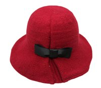 Wholesale Handmade Bucket Hats - Wholesale-2015 new fashion winter women handmade knit wool bucket hat black bowknot Chapeu Feminino Vintage Fedoras Hat JD-250
