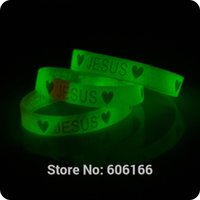 Wholesale Glow Dark Silicone Bracelets - Wholesale-50x Heart JESUS glow in dark silicone Bracelet wristband Fashion Catholic Christian Religious Jewelry
