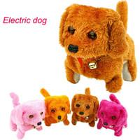 Wholesale Electronic Dog Bark - Electronic Dogs Kids Children Interactive Electronic Pets Doll Plush Neck Bell Walking Barking Electronic Dog Toy Christmas Gift OOA3603