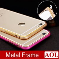 Wholesale Double Color Metal Aluminum Case - For iphone 6   6 Plus 5s Circle Arc No Screw Metal Double Color Bumper Bumper Luxury Aluminum Alloy Protective Case Cover 7 colors