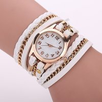 Wholesale braided wrap watch - 2016 Wrist Watch Leather Bracelet Women Watches Hot Sale Fashion Casual Bracelet Wrap Leather DIY Braided Watch