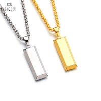Wholesale Initial Charms Pendant - Hiphop BRAND Gold Cube Bar Necklace&Pendant Hip Hop Jewelry Dance Charm Franco Men Chain Necklace