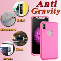 Wholesale Sticky For Iphone - For iPhone X Glitter Flash Anti Gravity Case Selfie Magical Nano TPU+PC Sticky Absorb Wall Cover For iPhone 8 7 Plus 6 6S Samsung S9 S8