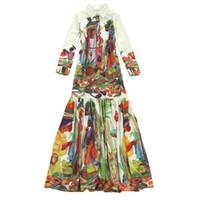 kapelle schleppkleider groihandel-Qualitäts-neueste Fashion Runway 2017 Maxi Kleid Frauen Langarm-Weinlese-Muster gedruckt böhmisches lange Kleid