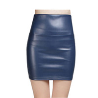 Wholesale Green High Waist Pencil Skirt - Christmas gift Women faux pu Leather skirt high waist party clothing female short pencil woman skirts saias femininas