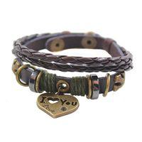Wholesale Charm Wholesale Source - Love Pendant Leather Bracelet for women Handmade woven Hematite infinity charm bracelets Valentine gift jewelry boutiques sources