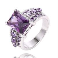 anéis de noivado de safira para mulheres venda por atacado-Anéis para As Mulheres Amantes do Casamento de Noivado Casal Anéis de Ouro Branco Banhado A Cristal Austríaco Casamento Cubic Zirconia Safira Gemstone Anéis