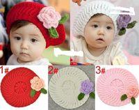 chapéu de boina bebê tricô venda por atacado-Crianças tampas, meninas boina artesanal cap flor chapéu de malha / bebê chapéu De Malha 3 cores, 10 pçs / lote