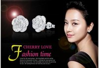 Wholesale japanese stud earrings - 925 sterling silver stud earrings love romantic elegance cherry earrings japanese style woman fashion classic flower jewelry