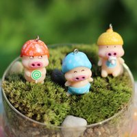 Oficina Figurines Cartoon Tabla Mini McDull Cerdo Figurines Planta de tiesto minúsculo jardín de Bonsai Cake Toppe Decoración E399L regalo