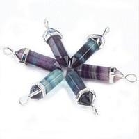 Wholesale Fluorite Point Pendant - Bulk 5 Pieces Rainbow Fluorite Stone Healing Chakra Prism Point Gemstone Pendulum Bead Silvery Pendant Charm Jewelry