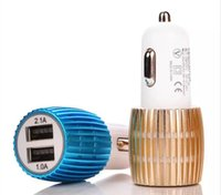 Colorido Led Car Cargador 2 puertos Cigarette Port 5v 2.1A Micro auto adaptador de corriente USB dual para iphone samsung