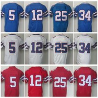 Uomo 5 Tyrod Taylor Jersey 25 LeSean McCoy 34 Thurman Thomas 12 Jim Kelly Legend Red Elite Stitched Jerseys College Spedizione gratuita