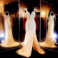 Wholesale Mermaid Style Prom Wedding Dress - 2015 Prom Dresses with Slit Beaded Appliques Mermaid Style Backless Cap Sleeves Long Wedding Party Dresses Party Evening Gowns