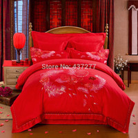 Wholesale Satin Comforters - China wedding red luxury satin bedding set bed linens embroidered jacquard flower duvet comforter cover sheet 4-7pieces bedsets