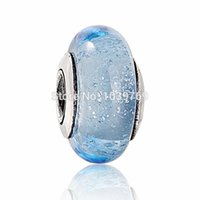 Wholesale sterling silver crimps - pandora Cinderella murano glass beads 925 ale sterling silver charms loose beads diy jewelry wholesale for thread bracelet GB053