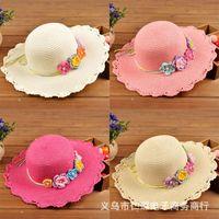 kore şapka bebek kız toptan satış-2015 yeni moda korean çocuklar şapkalar bebek hasır şapka yaz güneş şapka erkek ve kız çocuklar için caz şapka bebek şapka moda kaput yeni büyük-