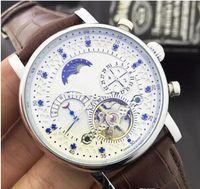 Wholesale Needle Clock - New Fashion Luxury Brand Swiss Watch leather Tourbillon Watch Automatic Men Wristwatch Men Mechanical steel Watches relogio masculino clock
