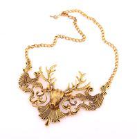 Wholesale Deer Choker - Fashion Deer Choker Necklaces Pendants For Women Statement Necklace Bubble Chunky Animal Jewelry SC004