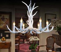 Wholesale Antlers Hotel - European Vintage Pendant Light American Country White Resin Antler Pendant Light Dinning Room Light 6 Lights