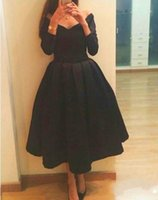 Wholesale Ladies Cheap Evening Gowns - 2017 Cheap Short Prom Dresses V Neck Long Sleeves Tea Length Satin Ladies Evening Party Dress A Line Formal Graduation Gown