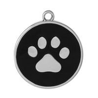 "Wholesale Black Paw Charm - Charm Pendants Round Silver Tone Black Bear paw Pattern Enamel 34mm(1 3 8"")x 30mm(1 1 8""),10 PCs 2015 new"