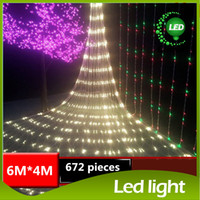 Wholesale Led Cristmas Lights - NEW LED Net String LED String Light 6Mx4M 672 LED Net String Light 220V Cristmas Christmas Lights Xmas Holiday Party Decoration Outdoor