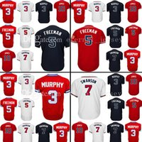 Wholesale Hank Aaron Baseball - Mens 3 Dale Murphy 5 Freddie Freeman Baseball Jerseys 37 Dansby Swanson 10 Chipper Jones 44 Hank Aaron Cool Base Jersey