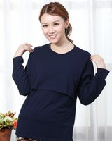 Wholesale Nursing Tops Maternity Clothes - L XL Long Sleeves Cotton Maternity Clothes Nursing Shirt Breastfeeding Top 8 Colors Available Free shipping