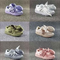 Wholesale Lavender Bow Tie - (With Box) Wholesale Hot Cheap New Summer X Fenty Bandana Slide Sneakers Shoes Women Bow Tie Green Pink Rihanna Sneakers Sports Shoes 36-40