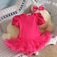 ingrosso tutu nero per i bambini-Plain Pink / Rose / Black Color Baby Toddler Ruffles Tutu Pagliaccetto Tuta Outfit Dress Tute Pagliaccetti Tuta 47 colori u PICK
