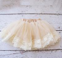 Wholesale Girls Beige Lace Skirt - New children tutu skirt baby girls lace tulle pitti skirt Newborn skirt A6079