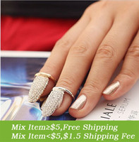 Wholesale Nail Ring Order - (Min order $5 mix) Jz034 fashion full rhinestone exquisite false nail finger ring female 3g the whole network