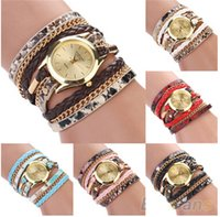 Wholesale Leopard Print Wrist Watches - Luxury Women's Leopard Print Wrap Braided Faux Leather Wristband Watch Fshion Analog Quartz Bracelet Wrist Watch