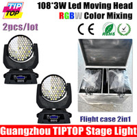 Gros-Flight Case 2in1 + 2pcs / lot 108 * 3W LED Moving Head Light Wash, DMX 512,12DMX Canal Angle 15degree Led Moving Head Light RGBW