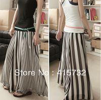 Wholesale Waist Hem Line - Free Shipping 2015 New Summer Striped Skirt Vertical Black And White Chiffon Long Maxi Skirt Elastic Waist Women Big Hem Skirts ladies skirt